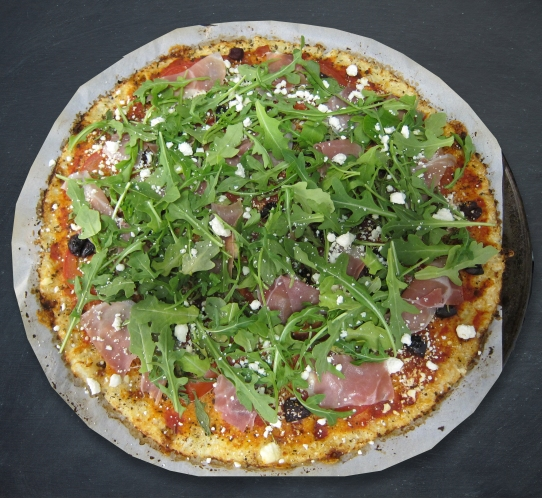 top with fresh arugula and basil