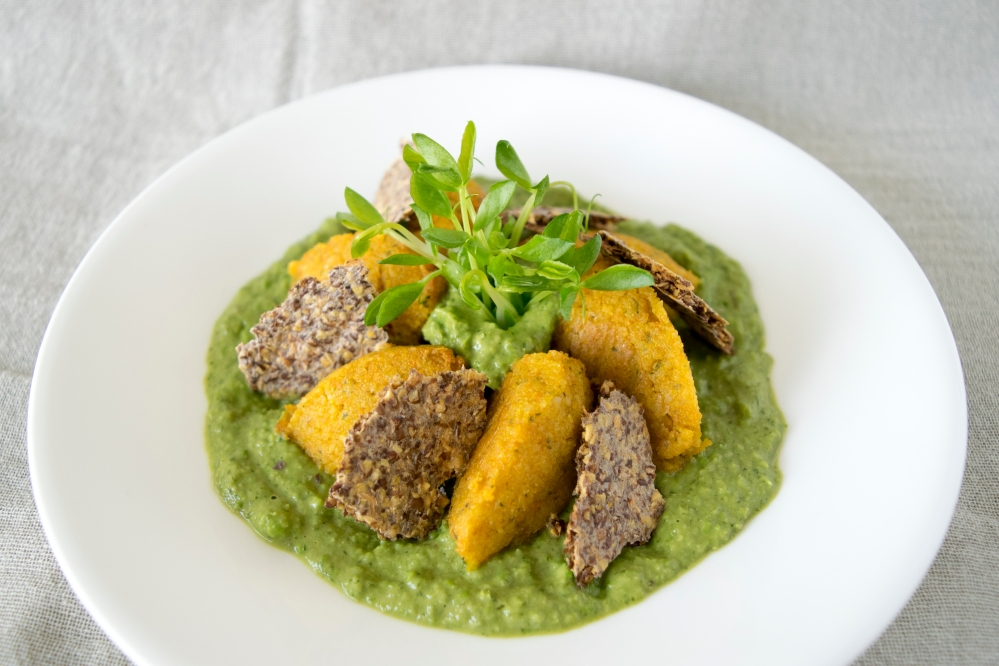 Jicama Carrot Gnocchi with Pea Mint Pesto and Horseradish Crisps by Marlene Schoepf @diet-icious_top view.jpg